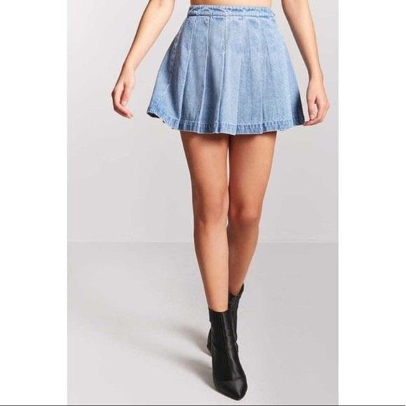 166198de14 Forever 21 Dresses & Skirts - Forever 21 denim pleated skirt/tennis skirt.